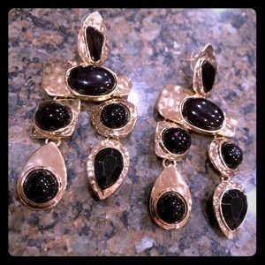 Nwot large gold toned earrings wh black accents